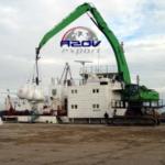 Перевалка грузов в порту Азов: уголь, минеральные удобрения, зерно, мука, лес, строительные материалы и пр.