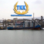 Перевалка зерна в Махачкалинском морском торговом порту Дагестана.
